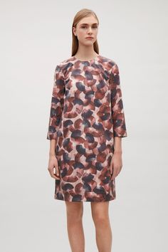 COS image 2 of Printed dress with zip back in Burgundy