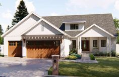 Featuring a beautiful modern farmhouse exterior facade, the Hutchins is a charming story house plan with a great floor plan to match! This 3 bedroom home has a 2 story great room perfect for… House Plans One Story, Ranch House Plans, Craftsman House Plans, New House Plans, Story House, Small House Plans, Two Story Homes, Rambler House Plans, Craftsman Ranch