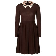 Orla Kiely: Fine merino wool dress with beautiful lace macrame collar detail. Dress has a pleated hem and button fastening at the back neck.         Length: 93.5cm