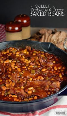 The best Skillet Barbecue Baked Beans with Bacon Recipe EVER! - Bonus: you can m. The best Skillet Baked Bean Recipes, Bacon Recipes, Cooking Recipes, Healthy Recipes, Cooking Rice, 7 Bean Baked Beans Recipe, Beans Recipes, Oven Cooking, Milk Recipes