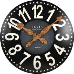 Bring a touch of Paris into your home with the Bastille wall clock. The deep slate blue center, bold numbers, and antiqued gold hands add style to any room.