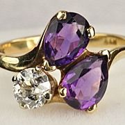 1.70 Carat Amethyst and Old European Cut Diamond Ring