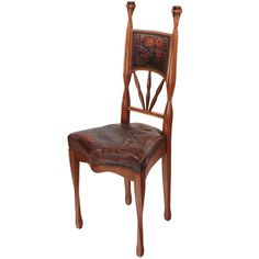View this item and discover similar for sale at - An important and extremely rare museum quality French Art Nouveau carved wood and tooled leather 'Pavot' (poppy) side chair by, Louis Majorelle with intricately Art Nouveau Interior, Art Nouveau Furniture, Antique Furniture, Dining Room Chair Cushions, Art Français, Accent Chairs Under 100, Victorian Art, Arts And Crafts Movement, Leather Tooling