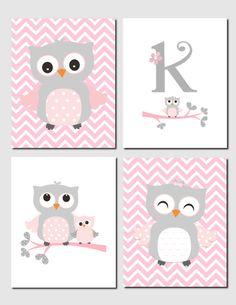 Owl Nursery Art Pink Gray Owls Initial Monogram Baby Girl Kids Art Chevron Girls Room Owl Nursery Decor Set of 4 Prints or Canvas Owl Nursery Decor, Baby Room Decor, Nursery Room, Girl Nursery, Girl Room, Nursery Ideas, Baby Owl Nursery, Elephant Nursery, Owl Themed Nursery