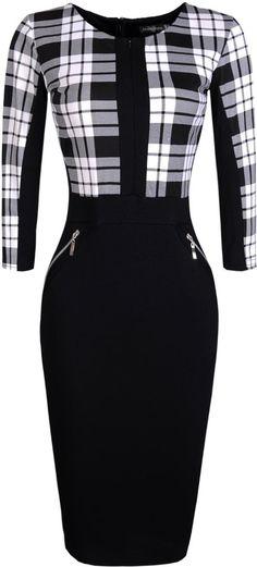 jeansian Women's Elegent High Elasticit Evening Gowns Pencil Dresses WKD176 Black&White L
