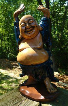 VTG 1960s MID Century Modern Happy Laughing BUDDHA Ceramic Pottery Retro Statue