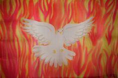 Praise Dance Flags | Holy Spirit Fire Hand Painted Silk Flag For Praise Worship or Dance