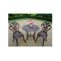 Bistro Table Set Outdoor Wrought Iron Furniture Dining 2 Chairs Antique Garden #OaklandLiving