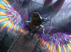 2012 artificial_wings brown_hair castle cityscape from_above gift_of_orzhova johannes_voss long_hair magic:_the_gathering male official_art signature solo sword weapon Art And Illustration, Fantasy Artwork, Graffiti, Mtg Art, Anime Kunst, Fantasy Kunst, Inspiration Art, Character Inspiration, Angel Art