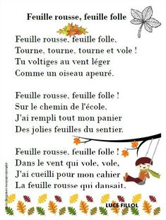 """Feuille rousse"" (Luce Fillol) et ""Le brouillard"" (Maurice Carême) - LaCatalane Simple Poems, French Poems, French Education, Teaching Language Arts, Montessori Activities, French Lessons, Teaching French, Autumn Activities, Journal Prompts"
