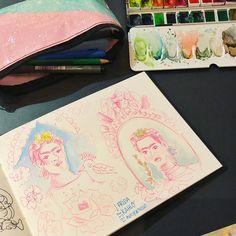 Exhibition Frida Kahlo - Camille R. #aquarelle #watercolor #sketchbook #carnetdecroquis