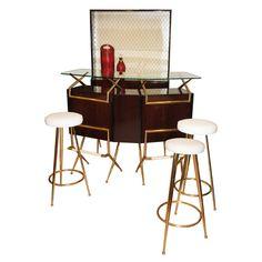 Italian 50s Mohogany Bar Counter, Cupboard and Stools Set -- retro cocktail love
