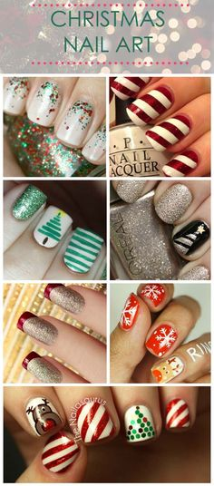 Here are some great Christmas Nail Designs! I love them all! #christmas #nails #designs