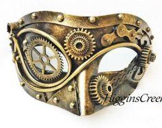 Metallische Gold Steampunk-Terminator-Maske von HigginsCreek
