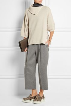 Brunello Cucinelli | Zip-detailed cashmere-blend turtleneck sweater | NET-A-PORTER.COM