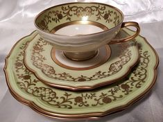 Gift/ For/ Her/ Green/ Gold/ Tea Cup and Saucer/ Dessert Plate/ Bavaria/ Easter/ Collector/ Sister/ Wife/ Mother/ Aunt/ Spring
