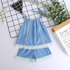 Item specifics This cute dressy denim shorts set is just perfect for upcoming season! It is made of fine cotton which makes it super comfortable. Designed to let your sassy girl shine like a star. Summer Girls, Kids Girls, Cheap Girls Clothes, Sassy Girl, Cotton Vest, Denim And Lace, Two Pieces, Outfit Sets, Girl Fashion