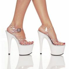 Pleaser Pole Dancer Stiletto Shoes Centerstage Stripper White Polka Dots Pumps Heels Size 11
