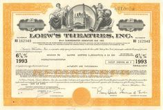 Cool collectible bond certificate from Loew's Theatres Inc. (1960's - 1970's).  Very nice engraved vignette of an old movie theater.