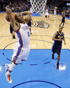 Russell Westbrook  Feb. 19, 2012  While Durant tallied a career-high 51 points in the overtime win against the Nuggets, Westbrook added 40 points, nine assists and four rebounds