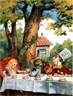 Alice in Wonderland Art Illustrations | Vintage Victorian Alice in Wonderland Canvas Art Mad Hatter Tea Party ...