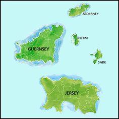 Channel Islands, UK ... off the south coast of England, closer to the coasts of Brittany and Normandy in France.  The largest island, Jersey, measures 9 miles by 5 miles.
