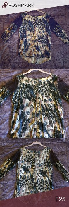 Billabong Blouse 3/4 length sleeve with purple lace on shoulders. Peacock design. Buttons down the back. Billabong Tops Blouses