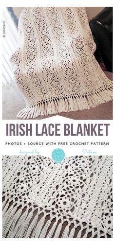 Crochet Afghans, Crochet Motifs, Afghan Crochet Patterns, Crochet Stitches, Knitting Patterns, Lace Patterns, Blanket Crochet, Free Knitting, Crochet Mittens