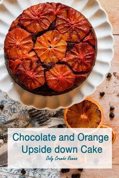 Chocolate orange flavoured sponge cake on sliced oranges a pretty and easy to make cake. Sponge Cake Recipes, Cupcake Recipes, Dessert Recipes, Fruit Recipes, Desserts, Chocolate Traybake, British Dishes, Recipe Maker, Chocolate Sponge Cake