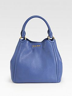 Miu Miu Vitello Caribou Double Handle Bucket Bag IN the Brany color NOT blue
