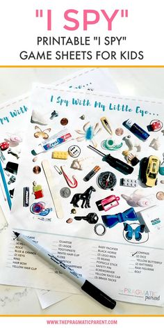 I Spy for Kids Printable Game Sheets for When You're on the Go, Stuck in a Waiting Room, or Trying to Make Dinner and Would like your Kids to Play Independently. These two printable I Spy for Kids game sheets are great to tuck in your purse or pull out wh