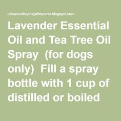 Lavender Essential Oil and Tea Tree Oil Spray  (for dogs only)  Fill a spray…