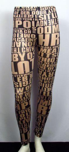 a5b82a3cc543e U. FASHION SweetNSexy Graffitti Leggings Black & Tan Size (front) O/S $15.00