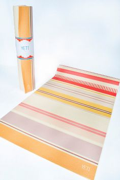 Our new summer stripe yoga mat, great for college dorm room fitness and healthy gift ideas.      Features & Specs:    - Measures 24x72x1/4  - Custom