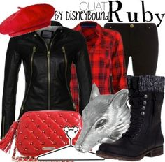 "Ohhh, my God, yesss!! I haven't really kept up with ""Once Upon a Time"" (Emma and Snow kind of rub me the wrong way...), but Ruby is such a lovely and dynamic character (and the actress that plays her is absolutely GORGEOUS!! ♥), and this outfit is so perfectly 'Ruby,' from the red plaid to the black leather to the rough riding boots to the wolf!! ♥"