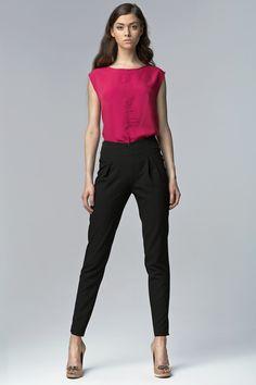 Nife SD17 Spodnie z wysokim stanem - czarny