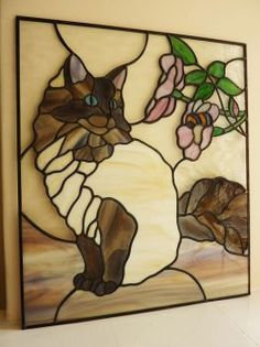 Cat stained glass window panel