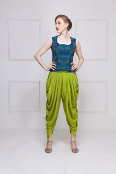 HOUSE OF OMBRE Blue & green embroidered vest top with green dhoti pants