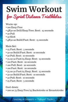 If you're training for a sprint distance triathlon, try this awesome swim workout! It's perfect to help you prepare for your upcoming race. Sprint Triathlon Training, Sprint Workout, Pool Workout, Cycling Workout, Bike Workouts, Cycling Tips, Road Cycling, Ironman Triathlon Motivation, Olympic Triathlon