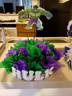 the Hulk Centerpiece for my godsons Birthday party - Visit to grab an amazing super hero shirt now on sale! Hulk Birthday Parties, Baby Boy Birthday, Superhero Birthday Party, Sons Birthday, Birthday Ideas, Hulk Party, Superhero Baby Shower, Kids Party Themes, Party Ideas