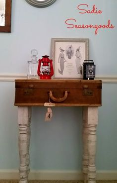 *old luggage with furniture legs* Hall Table from Vintage Luggage and Reclaimed Table Legs