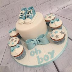 Baby shower cake and cupcakes by Amanda sargant