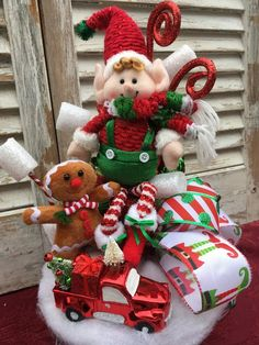 Christmas Elf Centerpiece, Holiday Centerpiece, Whimsical Elf Centerpeice with Gingerbread Doll and