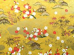 Chiyogami Paper Plum Blossoms Gold Paper by FromJapanWithLove