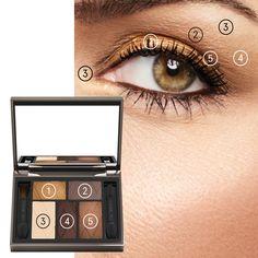 HOW TO - FESTIVE GOLD | Lise Watier Blush Brush, Lip Brush, Waterproof Eyeliner, Volume Mascara, Smoky Eye, Eyeshadow Palette, Eyebrows, The Balm, Festive
