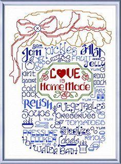 Lets Make Jam - cross stitch pattern designed by Ursula Michael. Category: Words.