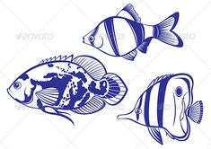 Illustration of Set of Exotic Tropical Fish - vector illustration vector art, clipart and stock vectors. Fish Vector, Vector Art, Small Drawings, Wood Burning Patterns, Tropical Fish, Hobbies And Crafts, Backdrops, Exotic, Images