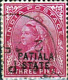 India 1899 Queen Victoria Overprint Patiala SG 32 Fine Used SG 32 Scott 27 Other British commonwealth stamps fo sale here