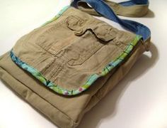 A messenger bag made from cargo pants!  Cute...now I need to look for cargos at the thrift shops!