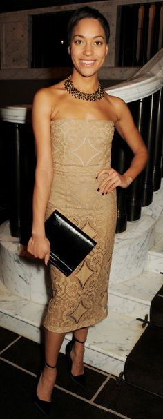 British actress Cush Jumbo wearing Burberry Prorsum to The 24 Hour Plays Celebrity Gala at The Old Vic theatre in London